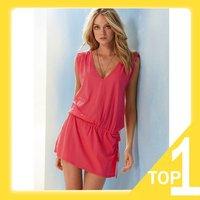 Holiday Sale solid Bikini dress, holiday Beach casual dress Y3156