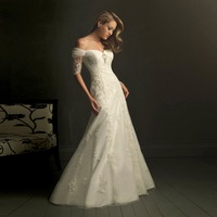 Free Shipping!Custom Made George European Version Wedding Gown,Slit Neckline Luxurious Noble Aesthetic Slim Lace Wedding Dress