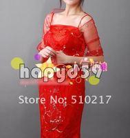 9pcs free ship women dress lace shawl bride shawl wedding  bridal wraps red