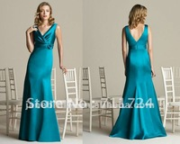 Teal V neck mermaid flower after six Bridesmaid Dresses