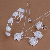 Factory price top quality 925 sterling silver  jewelry sets necklace bracelet bangle earring ring free shipping SMTS329