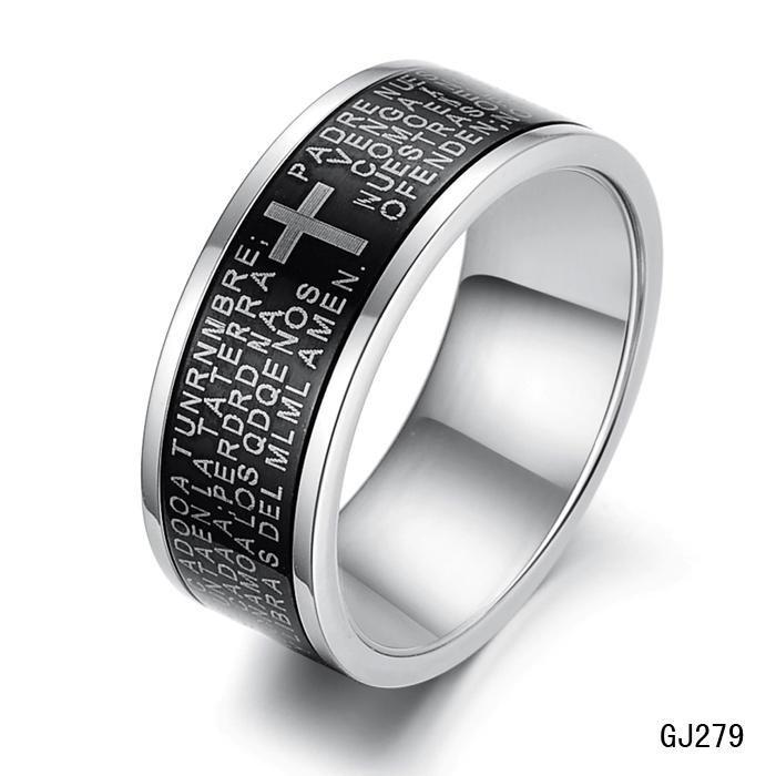 Black Cross Stainless Steel Men Band Ring