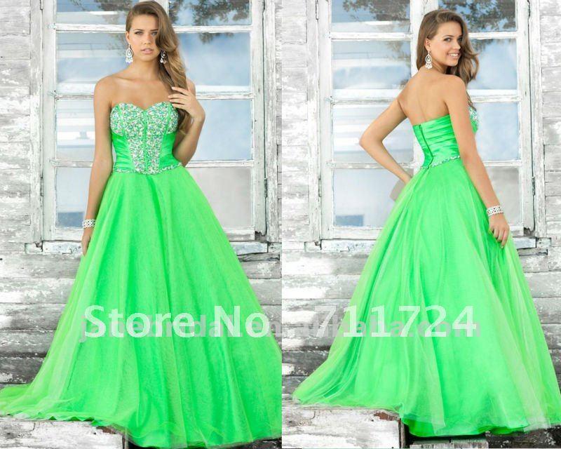 Mint Green Prom Dress 2013 2012 new arrival green A-line