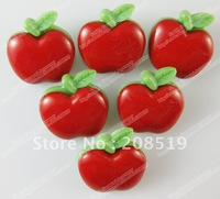 NB0111 Red APPLE shape 22mm*21mm combined style 100pcs/lot fashion plastic buttons for craft