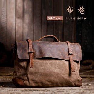 Free shipping.Man' geniune horse lether bag.fashion handbag.best briefcase.canvas shoulder bag(China (Mainland))