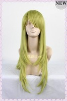Wholesale and Retail!!Light green medium long length costume anime wigs,100% women real hair free shipping