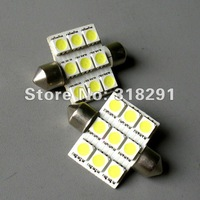 Free Shipping 9SMD festoon 5050 36mm/39mm 50pcs/lot WHITE car led light NUMBER PLATE DOME CAR LAMP BULB