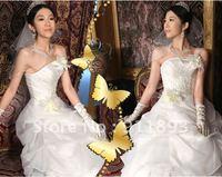 Free Shipping Fashion Stylish White Organza Short Sleeve Cheap Wedding Jacket Custom Made Bridal Wraps2012