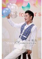 Man long sleeve shirts stage performance host MC clothing shirt personal photos long-sleeved plaid shirt