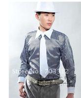 Stripe tie shirt studio long-sleeved shirt man stage performance clothing host MC clothing
