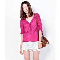 BRAND free shipping Fashion 100% real silk cotton women's shirt spring 2013 shirt half sleeve casual brand  clothes