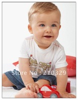 FREE SHIPPING 5sets/lot 2012 New arrival boys clothes sets children cotton t-shirt+pant jeans baby summer Cartoon clothing Sets