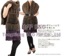 BG100806 Newest 2 Colors Genuine Knitted Mink Fur Stoles with Tassels And Pockets Winter Ladies Scarf
