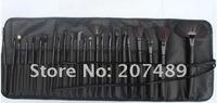 new portable 24 in1 brush sets High Grade pure natural Hair Makeup Kit cosmetic tool professional bag wholesale