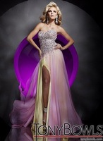 2013 Free shipping!sweet neckline beaded chiffon and satin front splited tony bowls custom-made uk evening dress