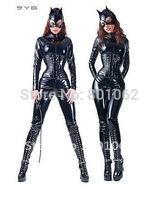 Queen Sexy womens Catsuit Black PVC Cat Bodysuit Fancy Party Costume Club wear S-XL