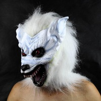FREE SHIPPING!!! Halloween supplies, the costume party mask, bar adornment, white high-grade latex wolf head mask 235g
