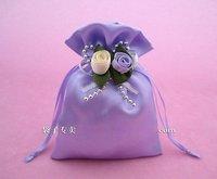 Satin gift bag, candy bag, 9*12cm purple wedding gift box, wedding favors, CSYT-001