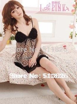 hotting black lace black leopard women's babydolls ruffles lingerie bowknot babydoll ladies underwear free shipping 5156
