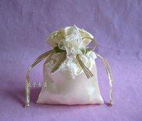 Satin gift bag, candy bag, 9*12cm white wedding gift box, wedding favors, CSYT-020