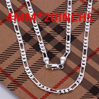 Man Fashion Jewelry 925 Silver Free Shipping 4MM Necklace N102-20