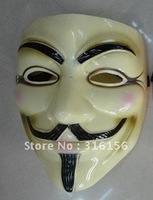 V vendetta team mask  masquerade masks Halloween carnival Mask(adult size),42g,light yellow,20pcs/lot CPAM free shipping