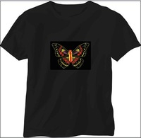 EL t shirt Flashing / Sound Activated/Light Up Down /Music Party LED/Cotton fabric/XS to XXL 6Sizes/ Free Shipping