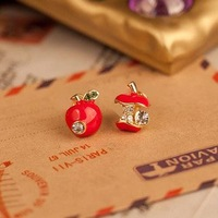 Min.order is $10 (mix order) Reyro Imitation Diamonds Red Apple Dissymmetry Stud Earrings Vintage Eardrop Fashion Jewelry