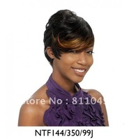 Freeshipping  Heat Resistant New Stylish  Short Curly Black&Gold   Synthetic  Hair Wig/ Colored Wigs