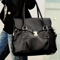2012 fashion ladies soft pu leather black handbag,retail and wholesale, nice design,free shipping