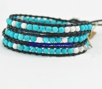 Handmade natural Turquoise leather 3 wraps star with paragraph trendy bracelet for gift  Retail Free shipping T153