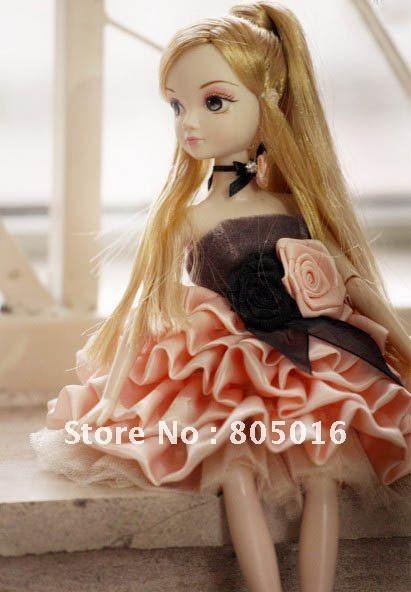 Cute 29CM Tall Kurhn Bobby Doll Gamorous Kurhn With Beautiful Party Dress, Joint Body Model Toy Free Shipping(China (Mainland))