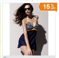 Free Shipping Fashion Slim Dark Blue Women Swimwear Swim Suit Lady Girl Swim Dress Swimming Skirt Suit Sexy Bikini WS1116