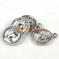 Wholesale-60pcs New Charms Coin Tibetan silver Pendants Zinc alloy Pendant fit necklace  16x13x2mm  141320-60