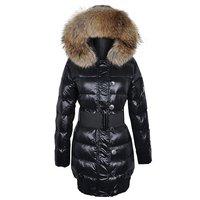 Large fur collar fashion brief all-match medium-long down coat