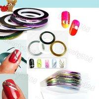 180pcs/Lot 18 Color Metallic yarn Line Nail Art Decoration Sticker Rolls Striping Tape Free Shipping 2749