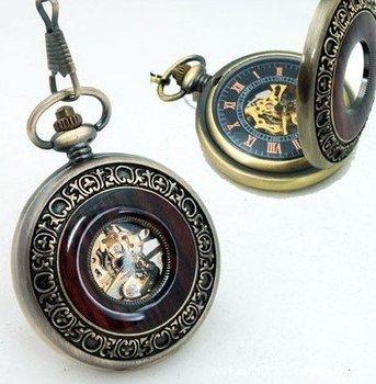 Wood Hunter Case Mechanical Skeleton Pendant Necklace Pocket Watch   PW104