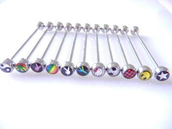316L  Lot 30pcs Free Shippment  Mix Logos 14g 40mm Industrial Barbell ear plug tunnel body jewelry body piercing jewelry