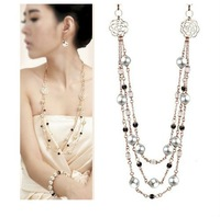 Free Shipping Factory wholesale hot sell fashion flower champagne pearl necklace,4pcs/lot