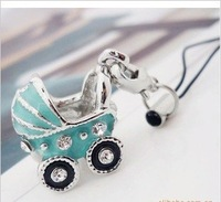 Creative small hang blue stereo baby carriages mobile phone chain