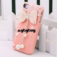 3D Bow Bowknot Diamond Pearl Bling Case For iPhone 4 4G 4S. IP4804 w/LCD Screen Protector