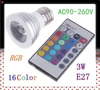 AC 90~240V 3W E26 RGB LED Bulb Lamp 16 Color changing led Spot light with Remote Control