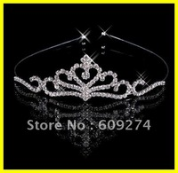 Free Ship Wholesale Retail Hair Bands 2012 High End Rhinestone Crystal Bridal Crown Tiara Wedding Prom Jewelry