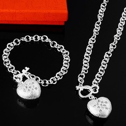 S025 Women Sterling Silver 925 Zircon Heart Necklace / Bracelet 2 Pieces Set Fashion Sterling Silver 925 Jewelry Sets(China (Mainland))