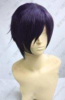 ~Gintama.Takasugi Shinsuke.594.12 inches purple black short straight cosplay costume wig, Cos Wig.free shipping