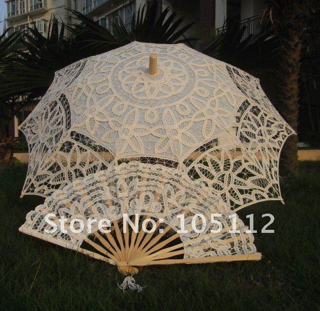 10 pçs/lote Belle marfim nupcial sol do casamento do laço Parasol Umbrella e Fan casamento favores acessórios 30 ' H108vs(Hong Kong)