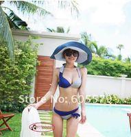 Sexy Two-Tone Halter Push Up Bikini Set Cut Out Bottom Swim Bathing Suit SW192