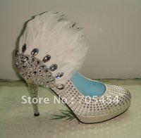 BS279 free shipping designer 2012 custom make high heel rhinestones feather bridal wedding shoes