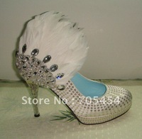 BS279 free shipping designer 2012 custom make high heel rhinestones feather bridal wedding shoes