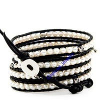 Handmade   Pearl  bead SKULL 5 wraps  with  black leather rope weave trendy bracelet  gift  Retail Free shipping CL098